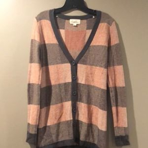 Forever 21 Button Down Cardigan Peach/Black S/P